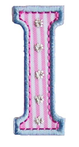 TrickyBoo I 5cm hoch rosa blau Stoff Dekoration Aufnäher Bügelbild Buchstabe zum Aufbügeln auf Applikationen Annähen Stoff Applikatione