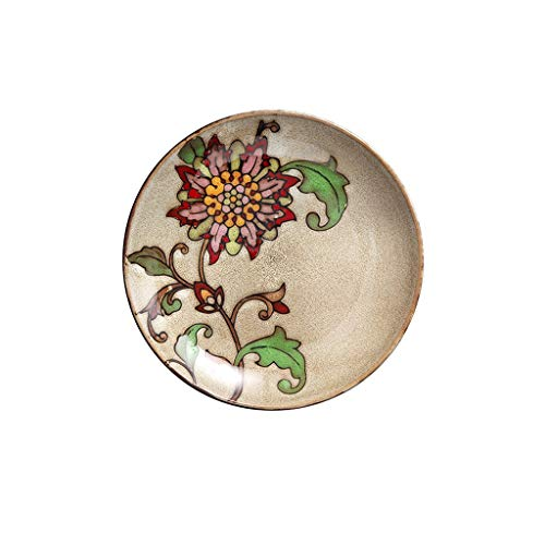 TIN-YAEN Ceramic Bowl Hand-painted Sunflower Pattern Steak Plate Fruit Salad Tray Tableware 21.5x3cm Bowls