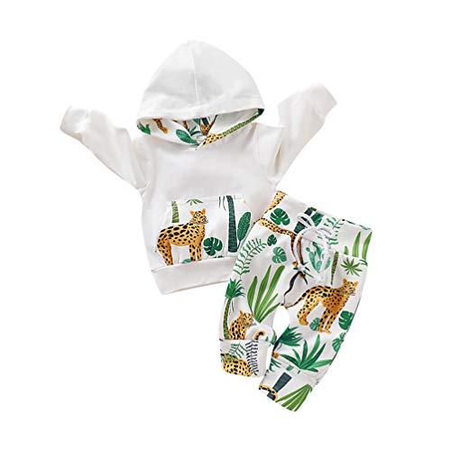 Capucha para Bebé Niñas Rayas Florales Conjunto de 2 Piezas Sudaderas con Bolsillo Superior + Pantalones Largos (0-3 Meses, Blanco)