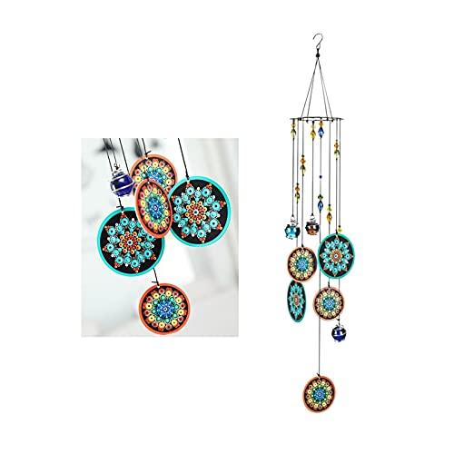 Vindskulpturer och spinnare Premium Wind Chimes Färgglada blomma Dekorativa, 23 tums vindklocka för trädgård, gård, uteplats och heminredning För trädgårdsredskap dekorativa (Color : Mandala)