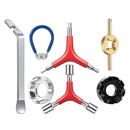 CJBIN Llave de radios, 7 piezas, herramienta para bicicleta, tensor de radios de bicicleta, para todas las bicicletas y radios de ciclomotor, reparación de radios de bicicleta