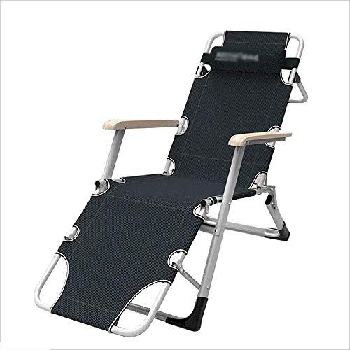 FFSM Silla plegable Chaise longue ocio silla cama individual almuerzo portátil coche al aire libre playa tumbona, luz, negro plm46