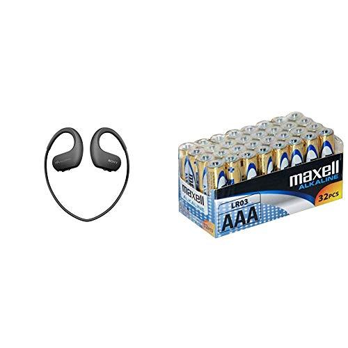 Sony Walkman NWWS413 - Reproductor MP3 Deportivo (4 GB, Resistente al Agua Salada y Altas temperaturas), Color Negro + Maxell LR03 - Pilas AAA, 32 Unidades