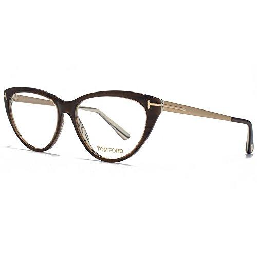 Tom Ford Brillen Für Frau 5354 050, Dark Brown / Gold / Horn Gestell aus Metall und Kunststoff