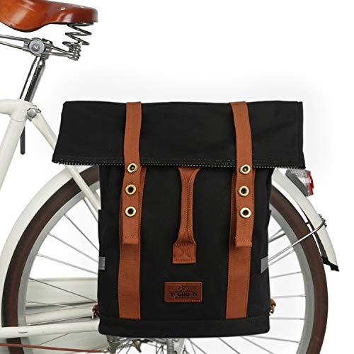 TOURBON Canvas Cabrio Rucksack Day Pack Packtaschen Fahrrad Radfahren Fahrrad Gepäckträger Schultasche