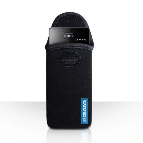 Caseflex Kompatibel Für Sony Xperia Miro Tasche Schwarz Neopren Beutel Hülle Logo