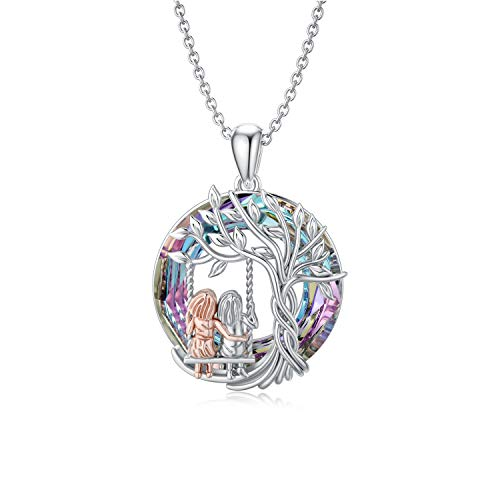TOUPOP Sister Gifts From Sister Sterling Silver Tree of Life Necklace with Circle Crystal Jewelry Gifts for Women Sister Mother Mom Friend Girls Birthday Mother's Day