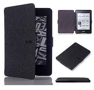 Kepuch Custer Funda para Kindle Paperwhite 1/2/3 2012 2013 2015 2016,Slim Smart Cover Fundas Carcasa Case Protectora de PU-Cuero para Kindle Paperwhite 1/2/3 2012 2013 2015 2016 - Negro