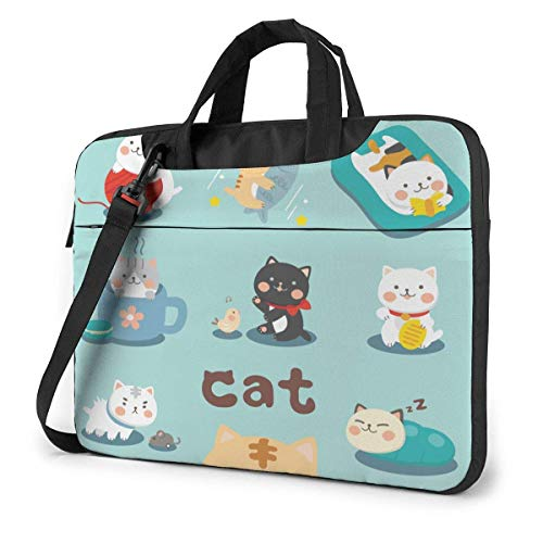 Laptop Tote Bag, Funny Cartoon Cats Protective Laptop Shoulder Bag with Handle Fits 13-15.6in Notebook for Office