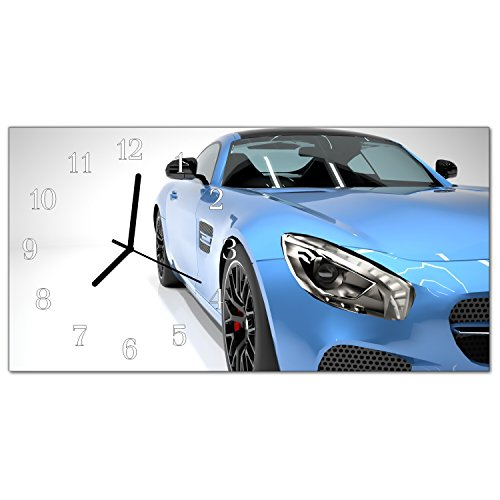 DekoGlas Glasuhr 'Auto Mehrfarbig' Uhr aus Echtglas, eckig große Motiv Wanduhr 60x30 cm, lautlos für Wohnzimmer & Küche