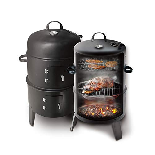 Household products 3-in-1 Smoker Barbecue, Charcoal Barbecue Grill, BBQ Stove with Thermometer Hook Adjustable Air Vent, 3 Large Capacity Grills for Outdoor Cooking Parties, 80 X 40 X 40 Cm 16 Inches