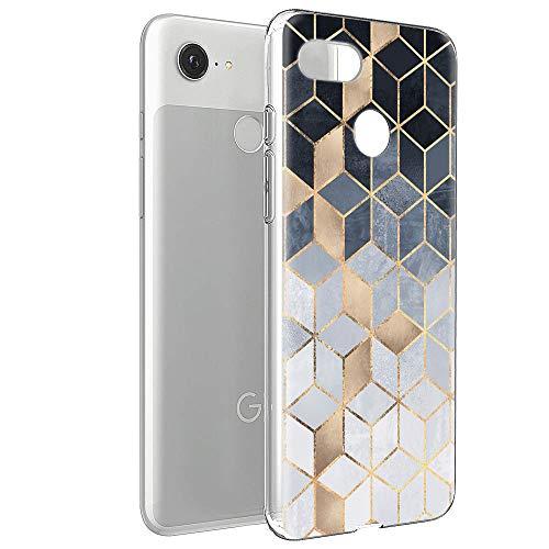 Yoedge Google Pixel 3A Hülle, TPU Silikon Transparent Schutzhülle Handyhülle mit Muster Motiv Case Ultradünn Stoßfest 360 Grad Bumper Weiche Cover für Google Pixel 3A 5,6 Zoll, Geometrisch