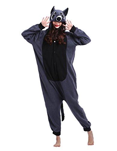 Pijama Adulto Completo con Dibujos Animados Mapache Gris