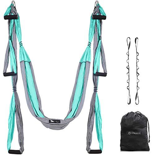 UpCircleSeven Aerial Yoga Swing Set - Yoga Hammock/Sling Kit + Extension Straps & Guide - Inversion Swing for Beginners & Kids - Ceiling Hanging Yoga Sling (Turquoise/Grey)