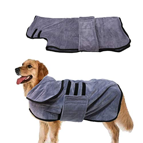 Absorbent Dog Towel, Quick Drying Hooded Bathrobe, Luxurious Dog Drying Towel for Bath & Beach Trips, Microfibre Pet Cat Robe Coat