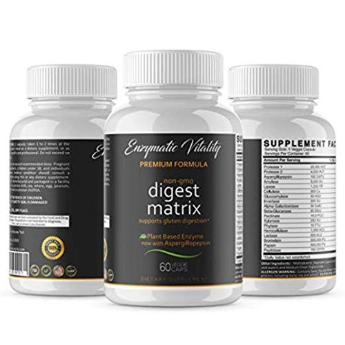 Enzymatic Vitality Digestive Enzymes Digest Matrix Enzyme Complex Plant Based Gut Health to Reduce IBS Leaky Gut Bloating Acid Reflux Indigestion & Heartburn 60 Veggie Capsules