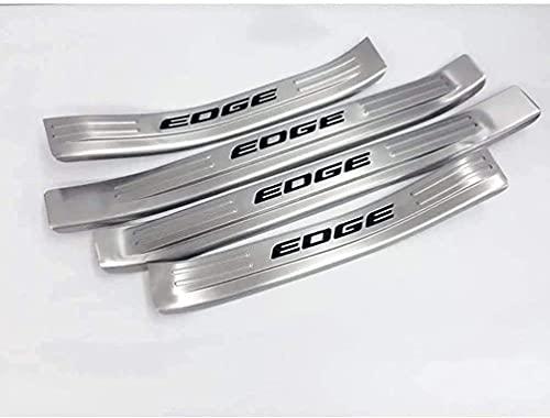 jjyyh 4 Pcs Decoración para Estribos de Coche De Acero Inoxidable para Ford Edge 2015-2021, Bienvenidos Pedal Placa Desgaste Antiarañazos Accesorios De DecoracióN