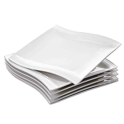 MALACASA, Serie Flora, 6 teilig Set CremeWeiß Porzellan Kuchenteller Dessertteller Frühstücksteller 8,25 Zoll / 21x21,5x2,5cm für 6 Personen