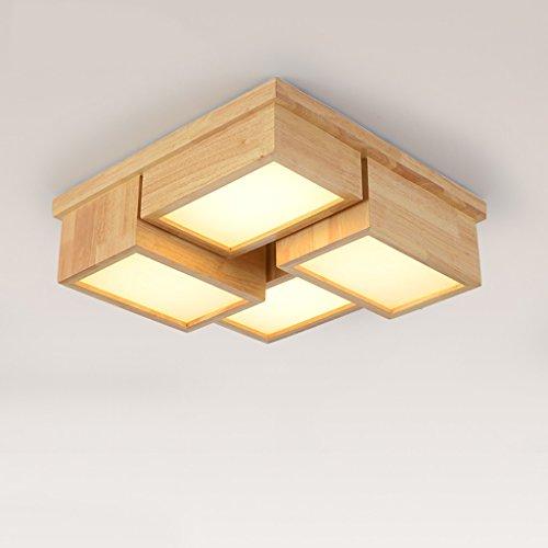Ywyun plafond en bois de style japonais, lampe de plafond LED d'économie d'énergie moderne, une chambre salon bureau carré lampes décoratives, 50 * 50cm (Color : 48w Warm light)