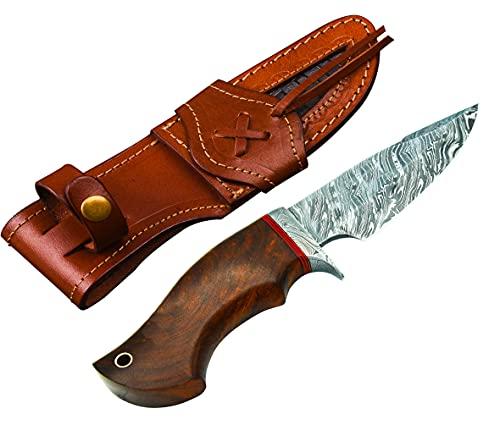 Bladejet Knives Custom Handmade Damascus Knife Steel Damascus - Camping Knife - Damascus Steel Hunting Knife - Fixed Blade Knife with Leather Sheath - 10' Overall Length - with Walnut Rose Wood Handle