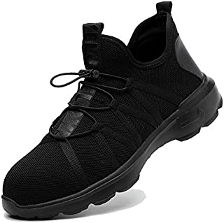 SUADEX Steel Toe Shoes Men, Breathable Lightweight Industrial and Constructions Work Safety Shoes, Puncture Resistant Composite Sneakers for Women