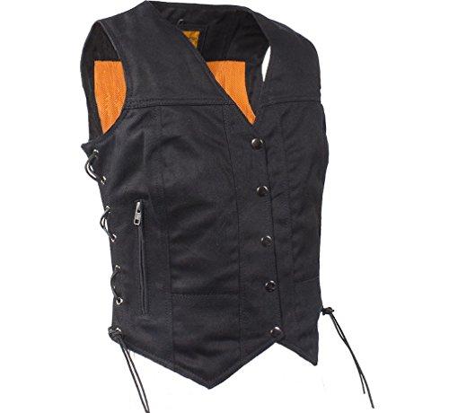 Womens Black Denim Motorcycle Vest with Side Laces Gun Pockets (L, Black)