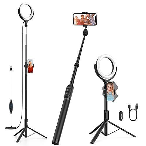 Yoozon Multifunktion 3 in 1 LED Ringlicht & Handy-/Kleinkamera Stativ & Selfie Stick mit Fernauslöser, 6500K 3 Farbe 10 Helligkeiten für Youtuber,Blogger,Self-Porträt,live Stream,TikTok,Foto,Video