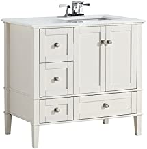 Simpli Home Chelsea 36 inch Contemporary Bath Vanity in Soft White with White Engineered Quartz Marble Top