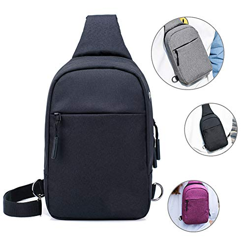 RANRANHOME Men's Crossbody Pack,Backpack Chest Shoulder Bags,Sling Chest Bag,Shoulder Crossbody Bag with Headphone Port for Outdoor Cycling Running Hiking Climbing and Travel,Black