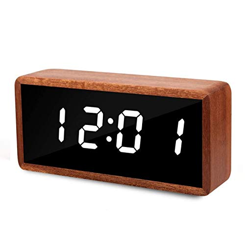 "Digital Alarm Clock, MiCar Solid Wood Led Modern Desk Clock with 5.5""x2.36"" Display, 7 Brightness, 5 Volume, 3 Alarms, Snooze for Kids Bedroom Office"