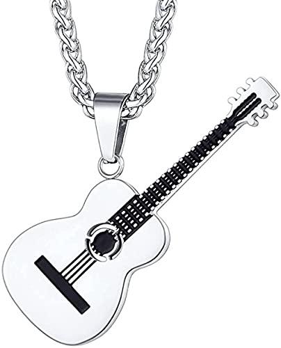 NC198 Rock Fashion Hip Hop Collar de Guitarra Antigua Personalidad Colgante de Acero de Titanio Collar de Hombre