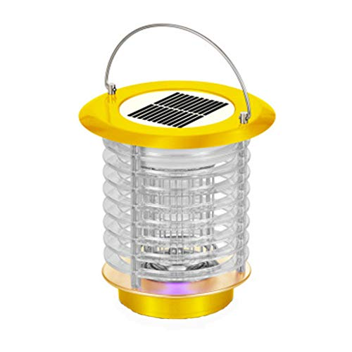 Andouy Tragbare Solarenergie Moskito Lampe Haushalt-Mückenschutz USB LED-Licht Mückenfalle(18×18×18cm.Gelb-2)