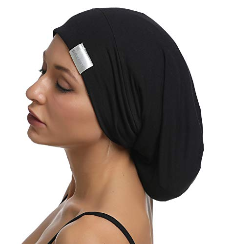 SAYMRE Large Satin Lined Bonnet Silky Hair Wrap Sleep Cap - Adjustable Beanie Slouchy Hats Bonnets for Women Long,Curly Hair (X-Large, Pure Black)