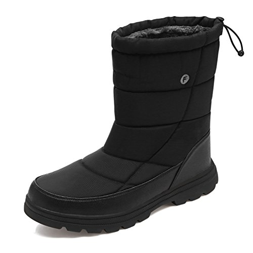 YIRUIYA Men's Winter Boots Slip on Snow Boots Pull on Lightweight Cold Winter Booies For Men, Size Men's 10.5 M US, Black