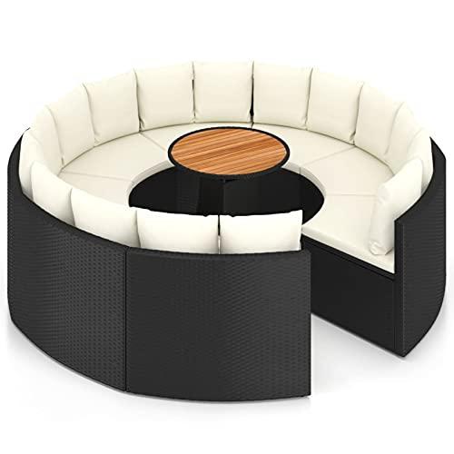 Tidyard Set de sofás de jardín 9 Piezas y Cojines ratán Conjuntos Sofa Exterior Patio Juego de Mesa y Silla de Piscina y jardín Piscina Mesa sintético Negro