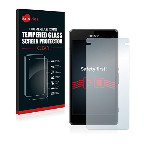 savvies Cristal Templado Compatible con Sony Xperia Z1 Compact / Z1 Mini Protector Pantalla Vidrio Proteccion 9H Pelicula Anti-Huellas
