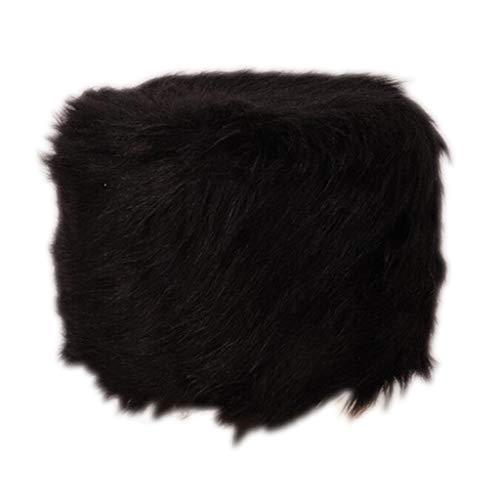 B Blesiya Coussin en Fourrure Housse de Chaise Confortable Doux Kit Chaise Tabourte Rond - Noir, 40cm