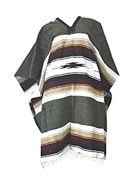 Del Mex Mexican Diamond Woven Eastwood Poncho  Sage Green