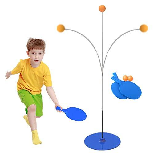 HNGPB - Robot de entrenamiento de tenis de mesa con mango suave elástico para niños, ideal para principiantes, adultos, niños, 2 raquetas, 2 tenis de mesa, 1 chasis, 2 ejes flexibles, 3 ventosas
