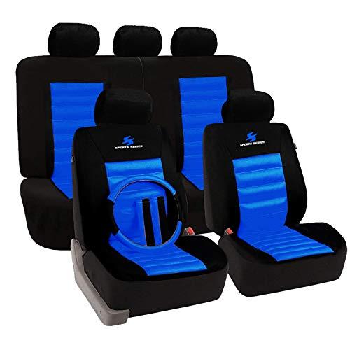 eSituro SCSC0017 Auto Schonbezug, 12 teillige Sitzbezüge mit Lenkradbezug und Gurtpolster für Auto, universal, schwarz-blau
