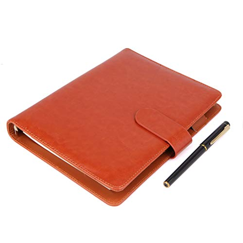 A5 Leather Notebook - Refillable Loose Leaf Business Notebook/Notepad, Meeting Notebook, Ruled/Classic Lined with Pocket&Pen Holder, 100 Sheets of 100gsm Paper (brown-A5)