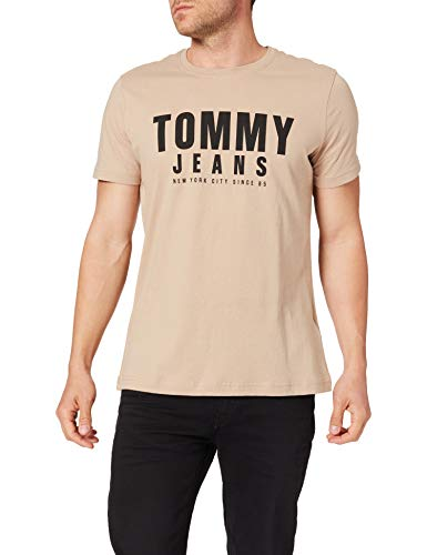 Tommy Jeans Tjm Center Chest Tommy Graphic T-Shirt, Colore: Beige Chiaro, S Uomo