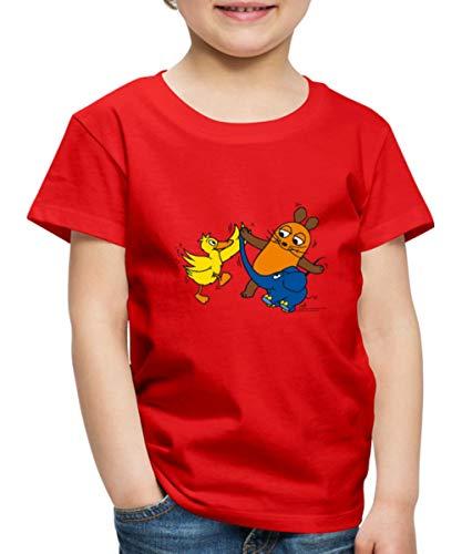 Spreadshirt Die Sendung Mit Der Maus Tanzt Mit Elefant Und Ente Kinder Premium T-Shirt, 110-116, Rot