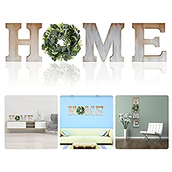 Wooden Home Sign Wall Hanging Decoration Home Letter Wall Decor-Artificial Eucalyptus Wreath Wood Hanging Wall Art Decorations for Living Room Bedroom Outdoor  Wood Color