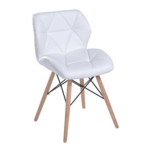 HOMCOM Stuhl Esszimmerstuhl Küchenstuhl Hocker Bürostuhl Holz W42 x D48 x H69cm weiß