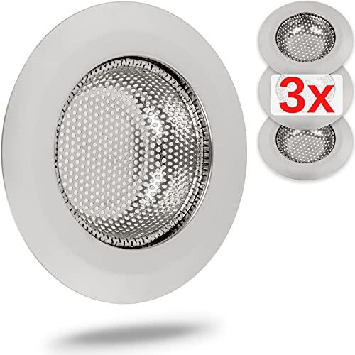 Abfluss Sieb, 3er Set, Ø 55 mm, geeignet für Abflüsse ab Ø 37 mm innen, ragt 15 mm tief in den Ausguss, Waschbecken Sieb mit optimierter Passform, Abflusssieb Spüle, ideal für Dusche, Handwaschbecken