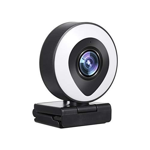 Webcam Streaming 1080P Full HD con doble micrófono y luz de anillo, USB Web Camera Stream PULLEY