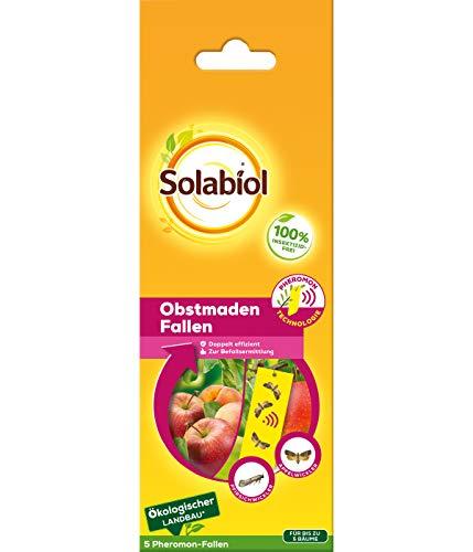 Solabiol Obstmaden Fallen, Pheromonfallen mit Lockstoff und Gelbtafel, ideal zur Befallsermittlung von Apfelwickler und Pfirsichwickler, frei von Insektiziden, 5 Stück