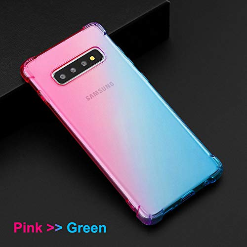 JLFDHR Gradient Color Soft Clear TPU Funda para teléfono móvil para Samsung Galaxy S10 Plus Note10 Pro Samsung A50 A70 Note 8 9 -para S10 Plus-Rosa Verde