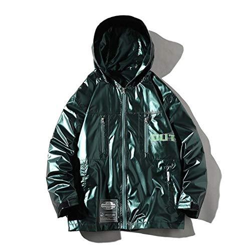 Heren windjack jas, lichte winddichte jas, heren helder leren jas, casual mode hoodie multi-pocket jas herfst en winter 2020 nieuwste (Color : Green, Size : XXXL)